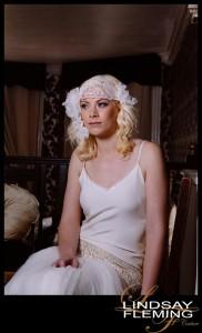 Grazia - Lace Headdress with Silk Flowers